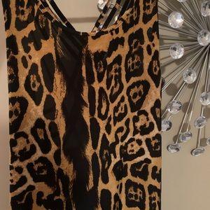 Leopard Print Cross Back Size Large Maxi Dress